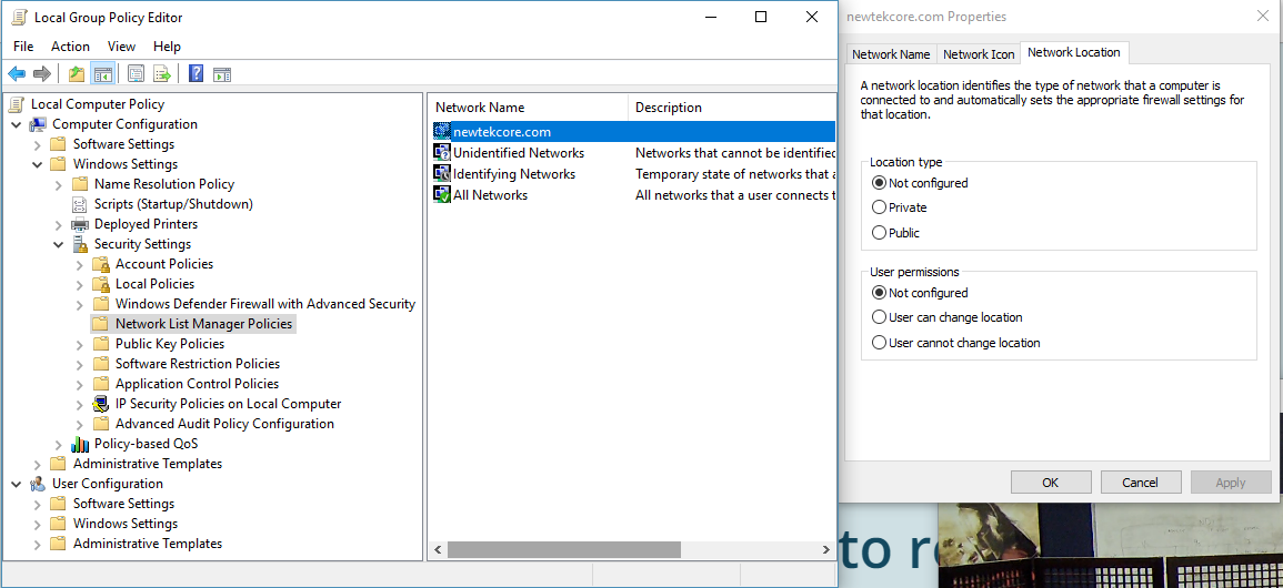 Changing your Network Location Type using Group Policy