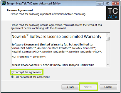 Installing Advanced Edition 2 software updates – NewTek